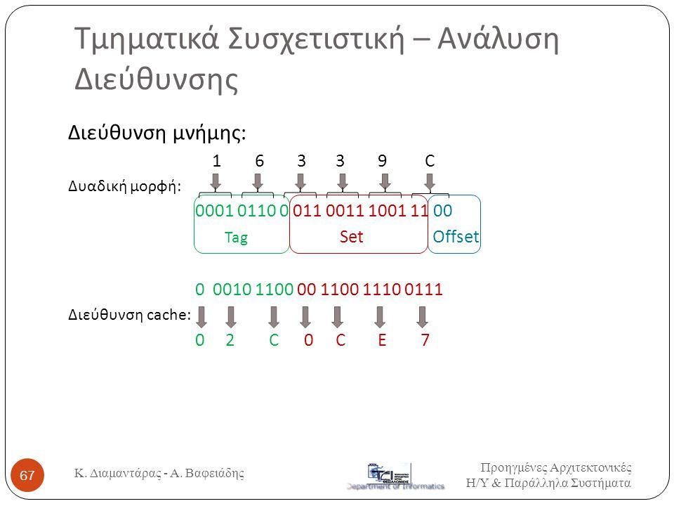 Διεύθυνση μνήμης: 1 6 3 3 9 C Δυαδική μορφή: 0001 0110 0 011 0011 1001 11 00 Tag Set Offset 0 0010 1100 00 1100 1110 0111 Διεύθυνση cache: 0 2 C 0 C E 7 Τμηματικά Συσχετιστική – Ανάλυση Διεύθυνσης Προηγμένες Αρχιτεκτονικές Η / Υ & Παράλληλα Συστήματα 67 Κ.