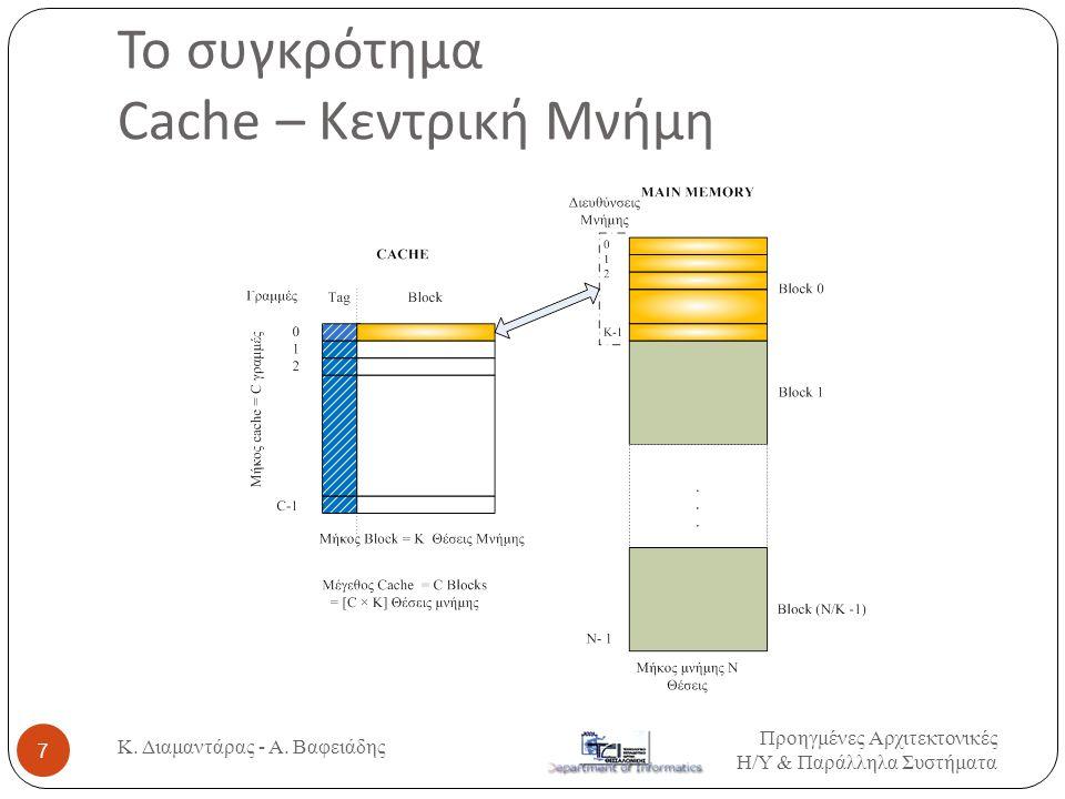 Το συγκρότημα Cache – Κεντρική Μνήμη Προηγμένες Αρχιτεκτονικές Η / Υ & Παράλληλα Συστήματα 7 Κ.