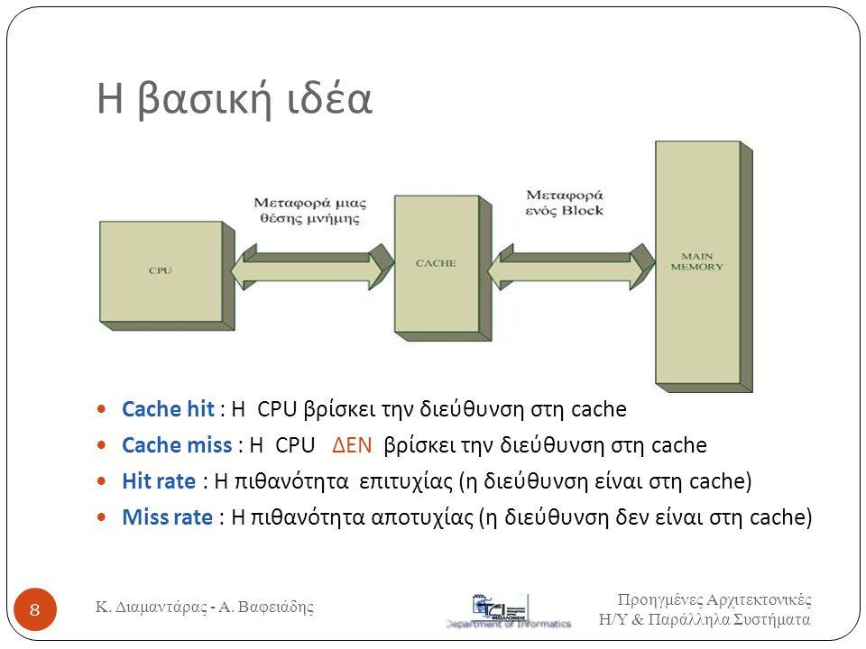 Η βασική ιδέα Cache hit : Η CPU βρίσκει την διεύθυνση στη cache Cache miss : Η CPU ΔΕΝ βρίσκει την διεύθυνση στη cache Hit rate : Η πιθανότητα επιτυχίας (η διεύθυνση είναι στη cache) Miss rate : Η πιθανότητα αποτυχίας (η διεύθυνση δεν είναι στη cache) Προηγμένες Αρχιτεκτονικές Η / Υ & Παράλληλα Συστήματα 8 Κ.