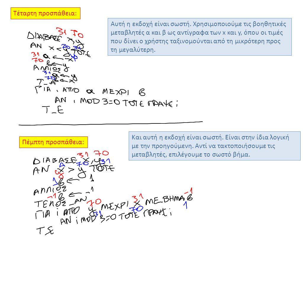 Τέταρτη προσπάθεια: Πέμπτη προσπάθεια: Αυτή η εκδοχή είναι σωστή. Χρησιμοποιούμε τις βοηθητικές μεταβλητές α και β ως αντίγραφα των x και y, όπου οι τ
