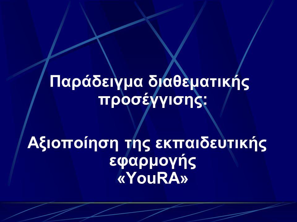 Θα μελετήσετε και θα δοκιμάσετε να εφαρμόσετε μαζί με τους μαθητές σας τη διαδικτυακή εφαρμογή «YouRA».