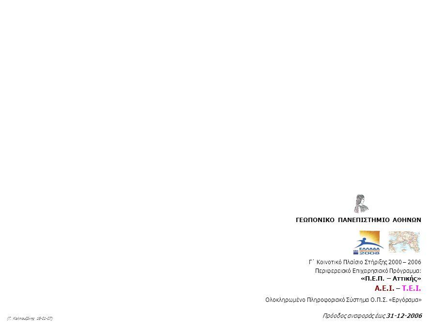 Γ΄ Κοινοτικό Πλαίσιο Στήριξης 2000 – 2006 Περιφερειακό Επιχειρησιακό Πρόγραμμα: «Π.Ε.Π.