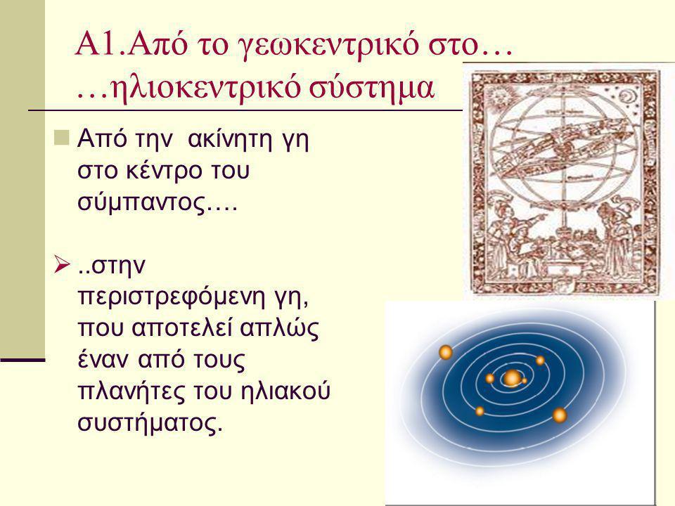 Α1.Από το γεωκεντρικό στο… …ηλιοκεντρικό σύστημα Από την ακίνητη γη στο κέντρο του σύμπαντος…. ..στην περιστρεφόμενη γη, που αποτελεί απλώς έναν από