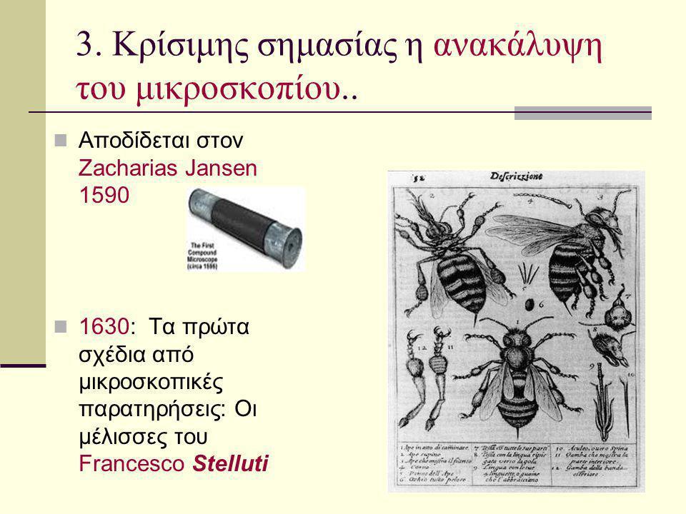 3. Κρίσιμης σημασίας η ανακάλυψη του μικροσκοπίου.. Αποδίδεται στον Zacharias Jansen 1590 1630: Τα πρώτα σχέδια από μικροσκοπικές παρατηρήσεις: Οι μέλ