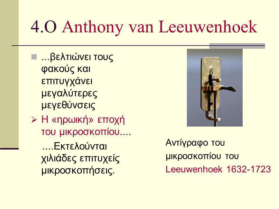 4.Ο Anthony van Leeuwenhoek...βελτιώνει τους φακούς και επιτυγχάνει μεγαλύτερες μεγεθύνσεις  Η «ηρωική» εποχή του μικροσκοπίου........Εκτελούνται χιλ