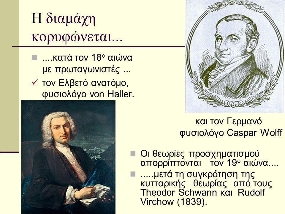 Η διαμάχη κορυφώνεται.......κατά τον 18 ο αιώνα με πρωταγωνιστές... τον Ελβετό ανατόμο, φυσιολόγο von Haller. και τον Γερμανό φυσιολόγο Caspar Wolff Ο