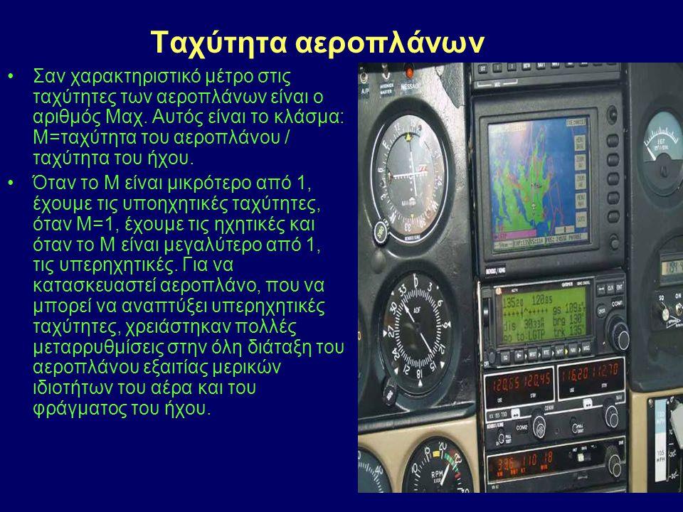 Σαν χαρακτηριστικό μέτρο στις ταχύτητες των αεροπλάνων είναι ο αριθμός Μαχ. Αυτός είναι το κλάσμα: Μ=ταχύτητα του αεροπλάνου / ταχύτητα του ήχου. Όταν