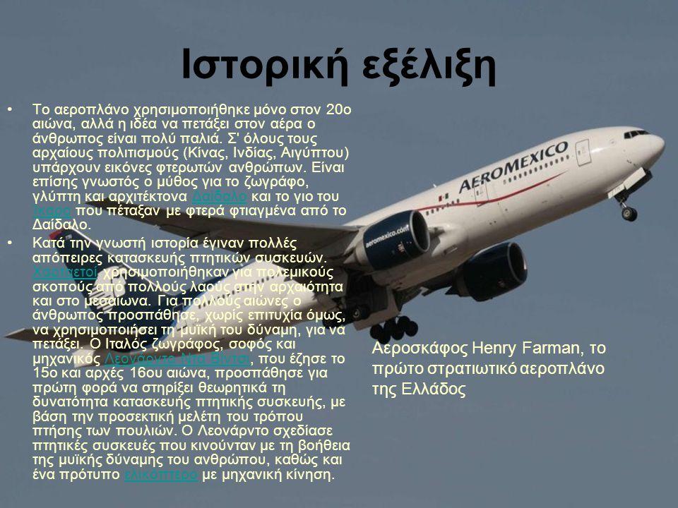 Ιστορική εξέλιξη Το αεροπλάνο χρησιμοποιήθηκε μόνο στον 20ο αιώνα, αλλά η ιδέα να πετάξει στον αέρα ο άνθρωπος είναι πολύ παλιά. Σ' όλους τους αρχαίου