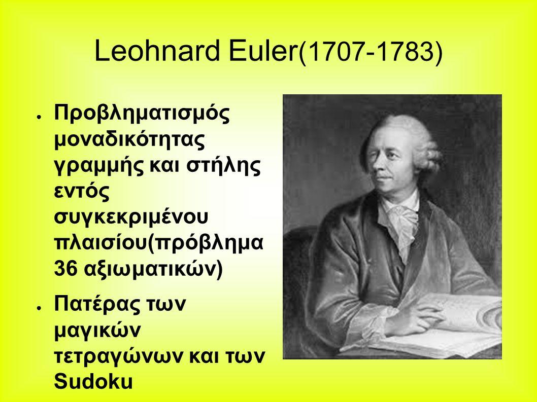 Leohnard Euler (1707-1783) ● Προβληματισμός μοναδικότητας γραμμής και στήλης εντός συγκεκριμένου πλαισίου(πρόβλημα 36 αξιωματικών) ● Πατέρας των μαγικών τετραγώνων και των Sudoku