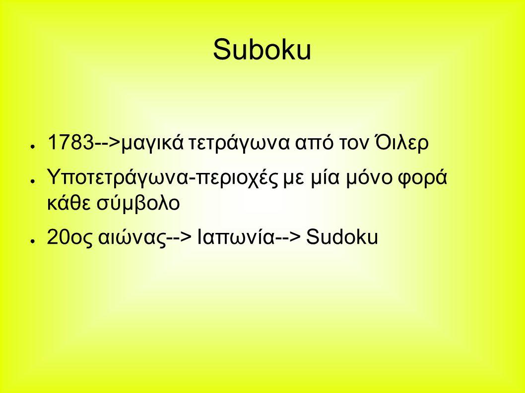 Suboku ● 1783-->μαγικά τετράγωνα από τον Όιλερ ● Υποτετράγωνα-περιοχές με μία μόνο φορά κάθε σύμβολο ● 20ος αιώνας--> Ιαπωνία--> Sudoku