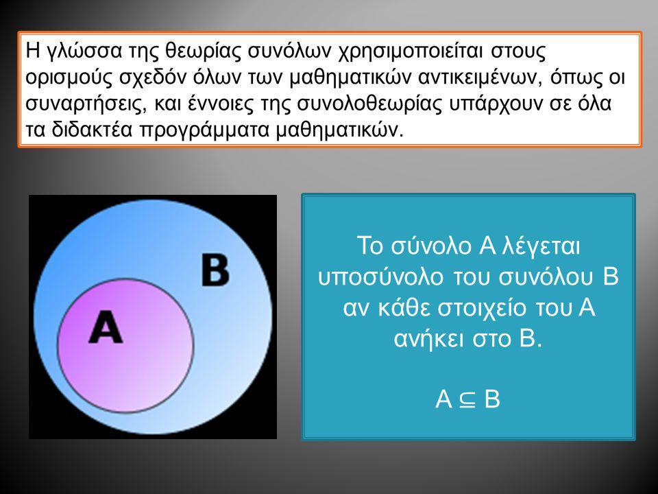 Το σύνολο Α λέγεται υποσύνολο του συνόλου Β αν κάθε στοιχείο του Α ανήκει στο Β. A ⊆ B