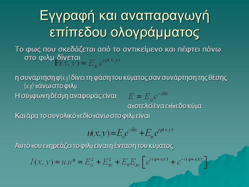 Εγγραφή και αναπαραγωγή επίπεδου ολογράμματος Το φως που σκεδάζεται από το αντικείμενο και πέφτει πάνω στο φιλμ δίνεται : η συνάρτηση φ (x,y) δίνει τη