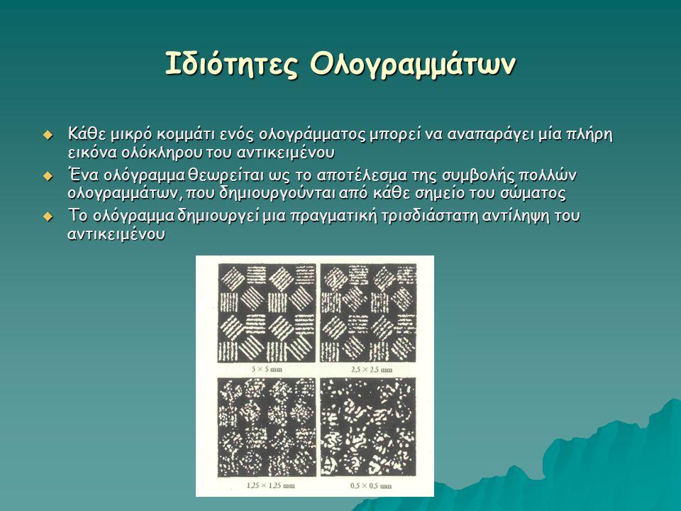 Ιδιότητες Ολογραμμάτων  Κάθε μικρό κομμάτι ενός ολογράμματος μπορεί να αναπαράγει μία πλήρη εικόνα ολόκληρου του αντικειμένου  Ένα ολόγραμμα θεωρείτ