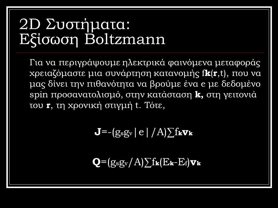 2D Συστήματα: Εξίσωση Boltzmann Για να περιγράψουμε ηλεκτρικά φαινόμενα μεταφοράς χρειαζόμαστε μια συνάρτηση κατανομής f k ( r,t), που να μας δίνει τη