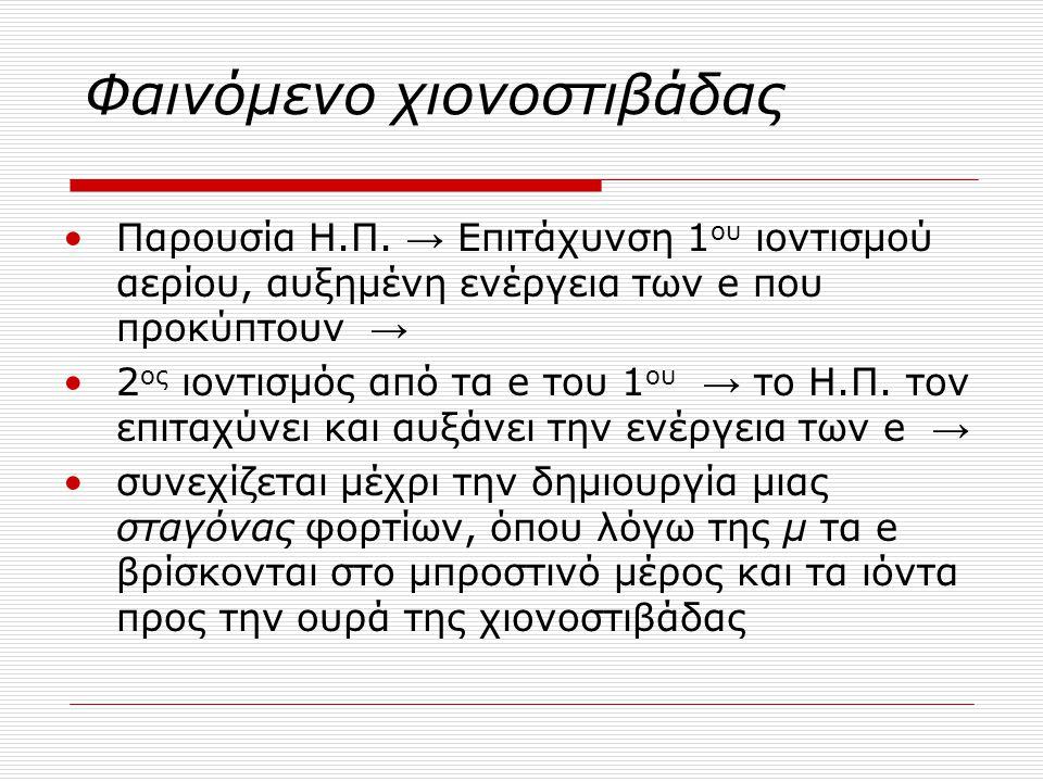 Φαινόμενο χιονοστιβάδας Παρουσία Η.Π. → Επιτάχυνση 1 ου ιοντισμού αερίου, αυξημένη ενέργεια των e που προκύπτουν → 2 ος ιοντισμός από τα e του 1 ου →