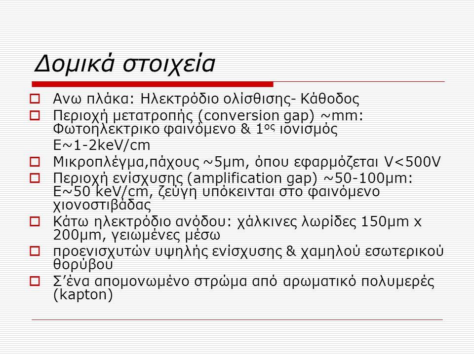 Δομικά στοιχεία  Ανω πλάκα: Ηλεκτρόδιο ολίσθισης- Κάθοδος  Περιοχή μετατροπής (conversion gap) ~mm: Φωτοηλεκτρικο φαινόμενο & 1 ος ιονισμός Ε~1-2keV
