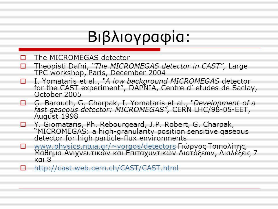 """Βιβλιογραφία:  The MICROMEGAS detector  Theopisti Dafni, """"The MICROMEGAS detector in CAST"""", Large TPC workshop, Paris, December 2004  I. Yomataris"""