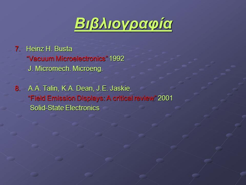 Βιβλιογραφία 7. Heinz H. Busta Vacuum Microelectronics 1992 Vacuum Microelectronics 1992 J.