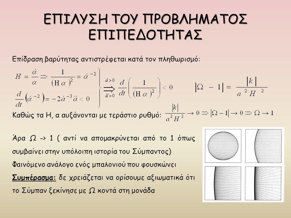 ΕΠΙΛΥΣΗ ΤΟΥ ΠΡΟΒΛΗΜΑΤΟΣ ΕΠΙΠΕΔΟΤΗΤΑΣ Επίδραση βαρύτητας αντιστρέφεται κατά τον πληθωρισμό: Καθώς τα Η, α αυξάνονται με τεράστιο ρυθμό: Άρα Ω -> 1 ( αν