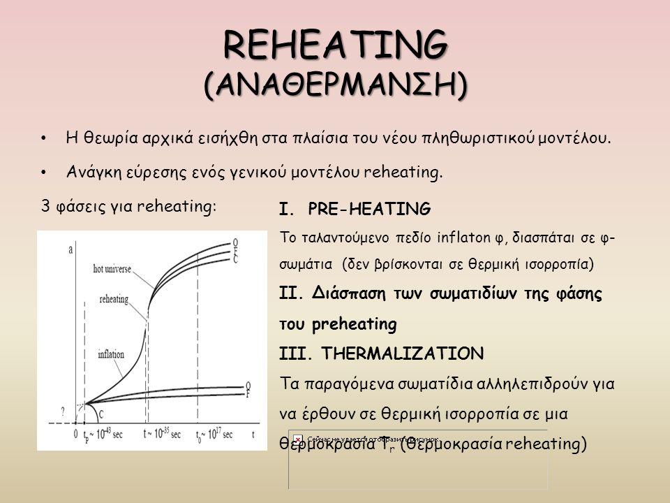 REHEATING (ΑΝΑΘΕΡΜΑΝΣΗ) Η θεωρία αρχικά εισήχθη στα πλαίσια του νέου πληθωριστικού μοντέλου. Ανάγκη εύρεσης ενός γενικού μοντέλου reheating. 3 φάσεις