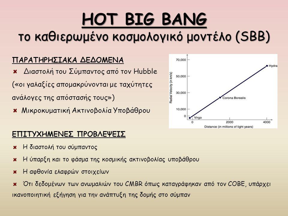 HOT BIG BANG το καθιερωμένο κοσμολογικό μοντέλο (SBB) ΕΠΙΤΥΧΗΜΕΝΕΣ ΠΡΟΒΛΕΨΕΙΣ Η διαστολή του σύμπαντος Η ύπαρξη και το φάσμα της κοσμικής ακτινοβολίας