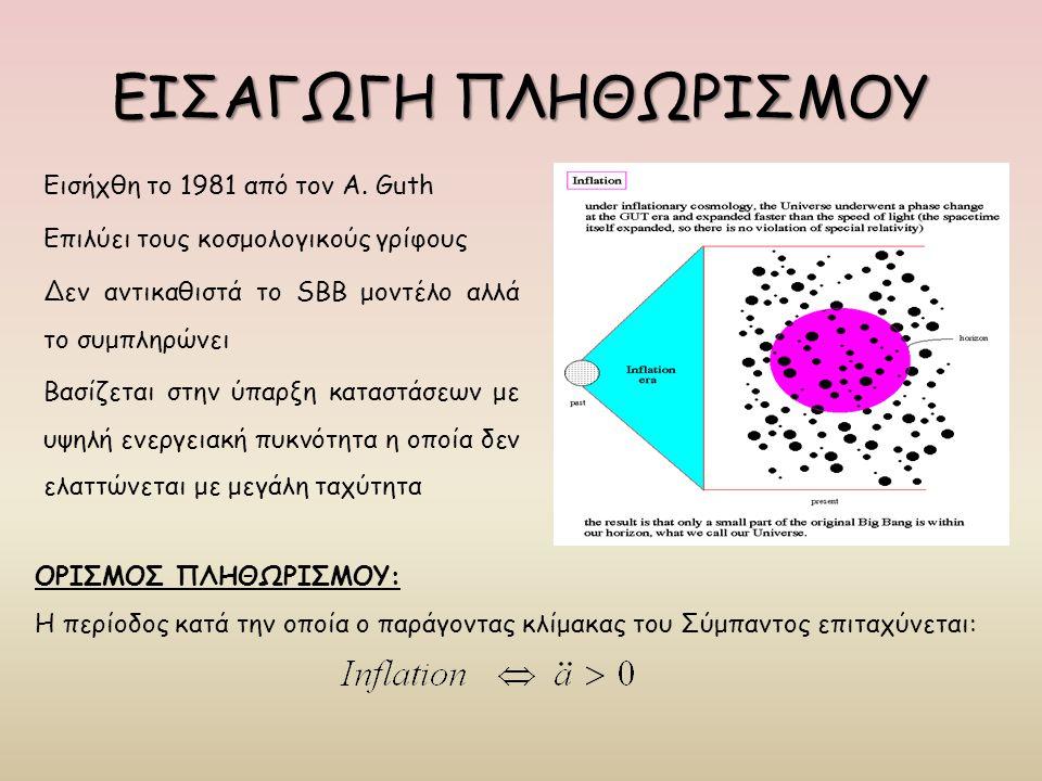 ΕΙΣΑΓΩΓΗ ΠΛΗΘΩΡΙΣΜΟΥ Εισήχθη το 1981 από τον A. Guth Επιλύει τους κοσμολογικούς γρίφους Δεν αντικαθιστά το SBB μοντέλο αλλά το συμπληρώνει Βασίζεται σ