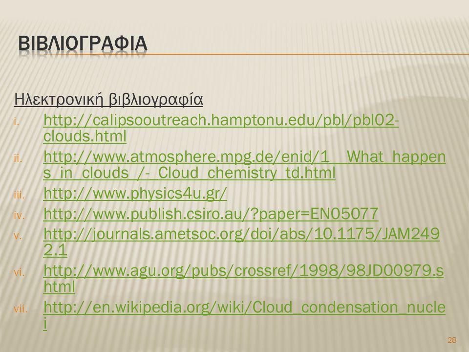 Ηλεκτρονική βιβλιογραφία i. http://calipsooutreach.hamptonu.edu/pbl/pbl02- clouds.html http://calipsooutreach.hamptonu.edu/pbl/pbl02- clouds.html ii.