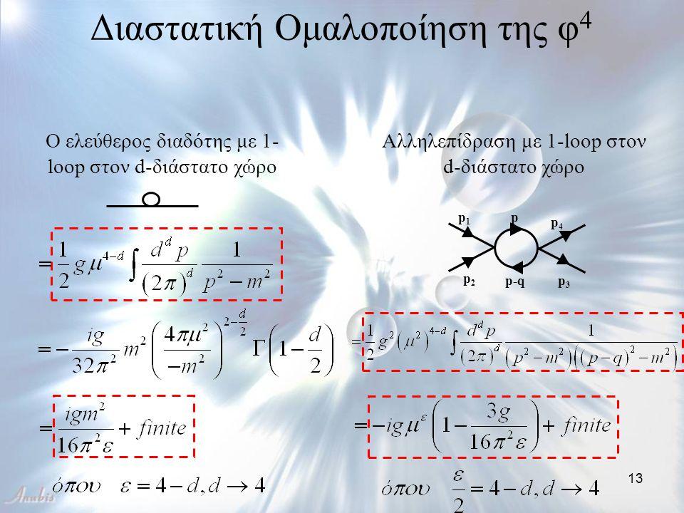 13 Διαστατική Ομαλοποίηση της φ 4 Ο ελεύθερος διαδότης με 1- loop στον d-διάστατο χώρο Αλληλεπίδραση με 1-loop στον d-διάστατο χώρο p1p1 p4p4 p3p3 p2p
