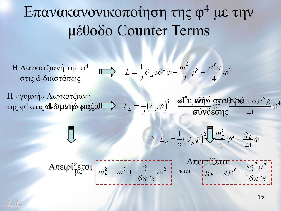 15 Επανακανονικοποίηση της φ 4 με την μέθοδο Counter Terms Η Λαγκατζιανή της φ 4 στις d-διαστάσεις Η «γυμνή» Λαγκατζιανή της φ 4 στις d-διαστάσεις και