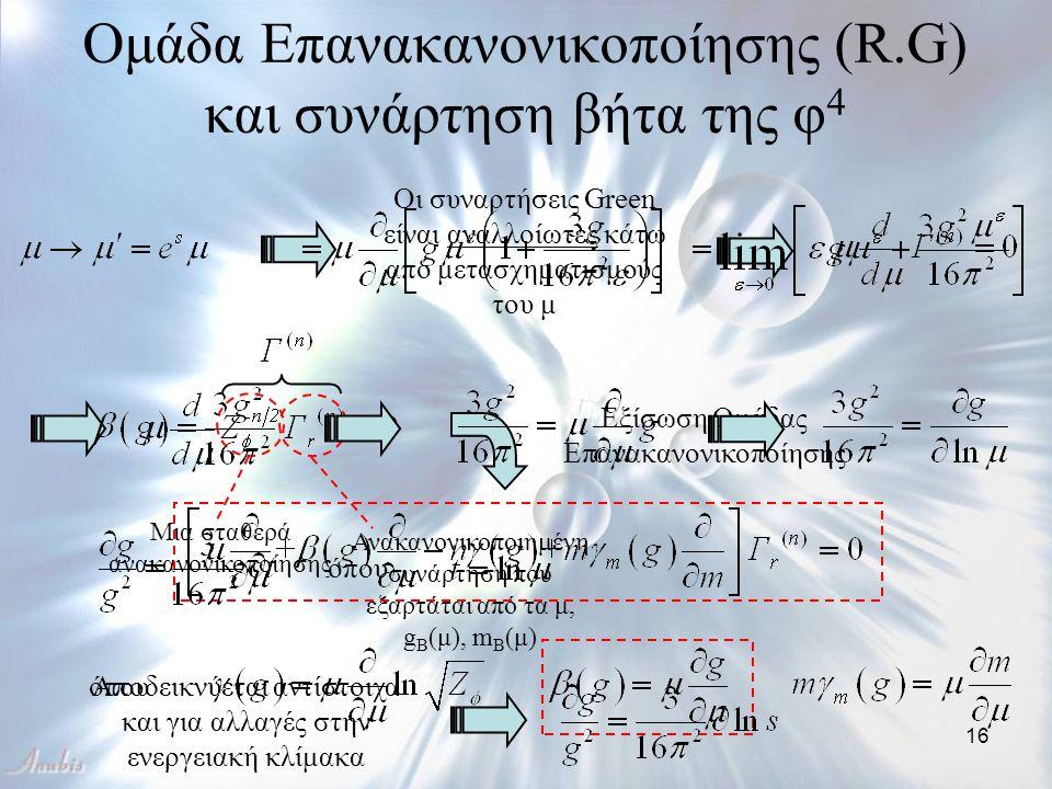 16 Οι συναρτήσεις Green είναι αναλλοίωτες κάτω από μετασχηματισμούς του μ Ομάδα Επανακανονικοποίησης (R.G) και συνάρτηση βήτα της φ 4 Μια σταθερά ανακ