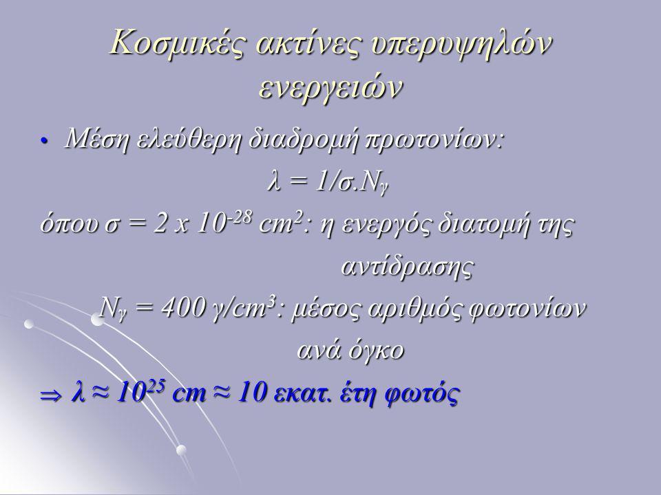 Κοσμικές ακτίνες υπερυψηλών ενεργειών Μέση ελεύθερη διαδρομή πρωτονίων: Μέση ελεύθερη διαδρομή πρωτονίων: λ = 1/σ.Ν γ λ = 1/σ.Ν γ όπου σ = 2 x 10 -28 cm 2 : η ενεργός διατομή της αντίδρασης αντίδρασης Ν γ = 400 γ/cm 3 : μέσος αριθμός φωτονίων Ν γ = 400 γ/cm 3 : μέσος αριθμός φωτονίων ανά όγκο ανά όγκο  λ ≈ 10 25 cm ≈ 10 εκατ.