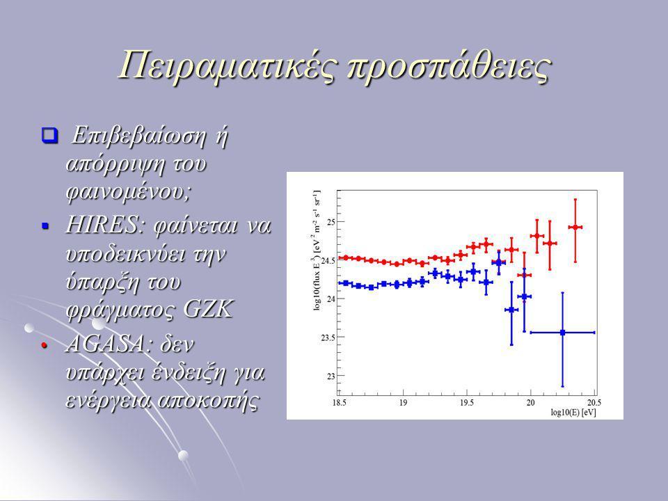 Πειραματικές προσπάθειες  Επιβεβαίωση ή απόρριψη του φαινομένου;  HIRES: φαίνεται να υποδεικνύει την ύπαρξη του φράγματος GZK AGASA: δεν υπάρχει ένδειξη για ενέργεια αποκοπής AGASA: δεν υπάρχει ένδειξη για ενέργεια αποκοπής