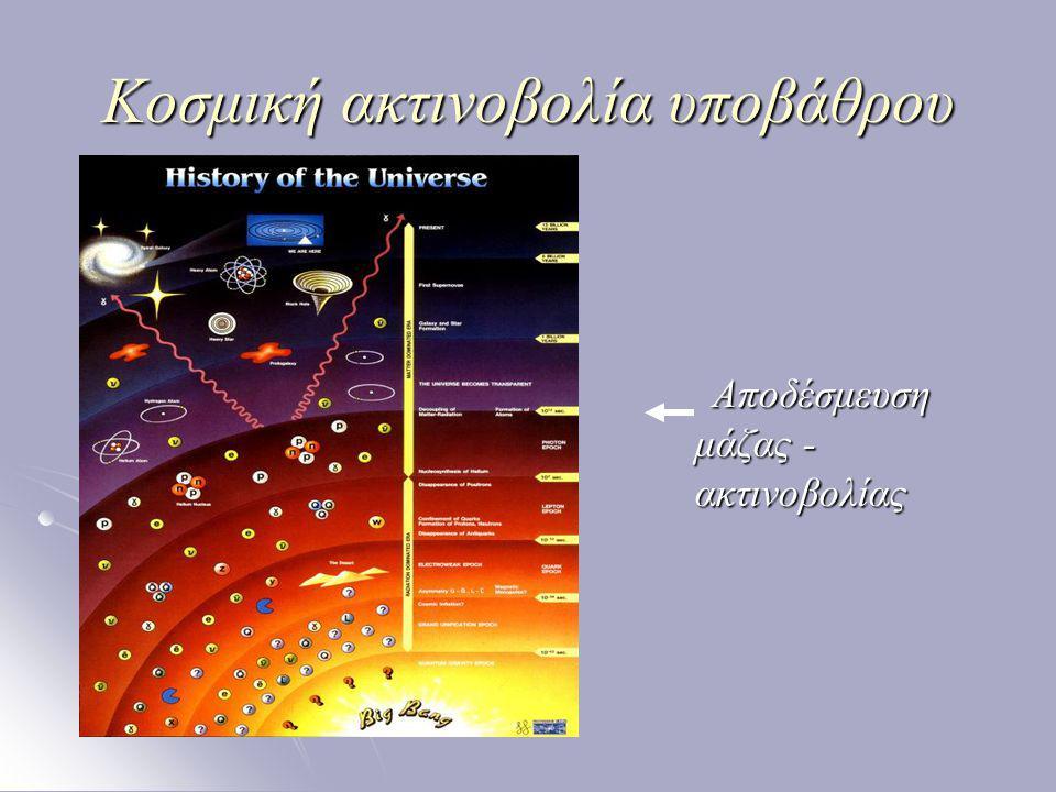 Κοσμική ακτινοβολία υποβάθρου  Ανακάλυψη Gamow, 1946 Gamow, 1946 Penzias και Wilson, Bell Labs, 1964 Penzias και Wilson, Bell Labs, 1964