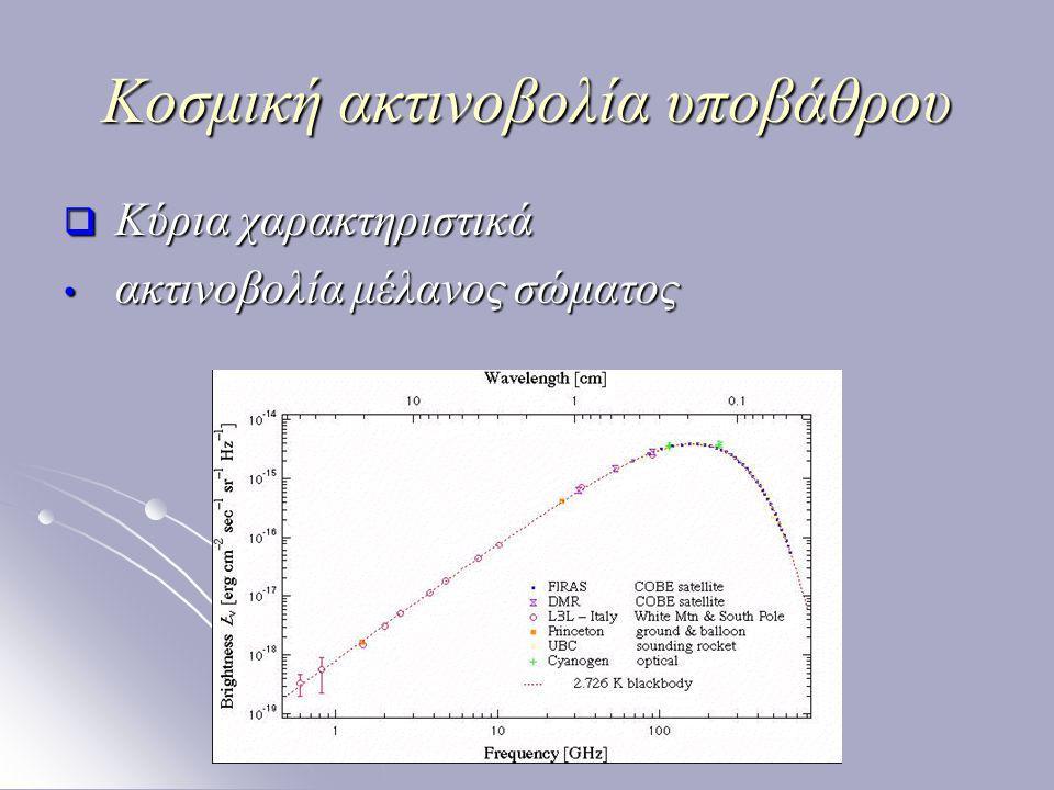 Κοσμική ακτινοβολία υποβάθρου  Κύρια χαρακτηριστικά ακτινοβολία μέλανος σώματος ακτινοβολία μέλανος σώματος
