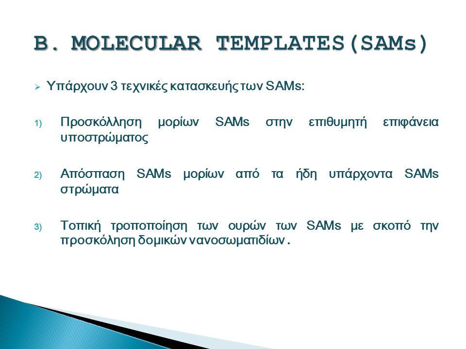  Υπάρχουν 3 τεχνικές κατασκευής των SAMs: 1) Προσκόλληση μορίων SAMs στην επιθυμητή επιφάνεια υποστρώματος 2) Απόσπαση SAMs μορίων από τα ήδη υπάρχοντα SAMs στρώματα 3) Τοπική τροποποίηση των ουρών των SAMs με σκοπό την προσκόληση δομικών νανοσωματιδίων.
