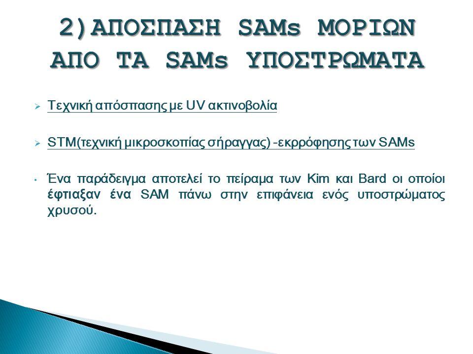 Τεχνική απόσπασης με UV ακτινοβολία  STM(τεχνική μικροσκοπίας σήραγγας) -εκρρόφησης των SAMs Ένα παράδειγμα αποτελεί το πείραμα των Kim και Bard οι οποίοι έφτιαξαν ένα SAM πάνω στην επιφάνεια ενός υποστρώματος χρυσού.