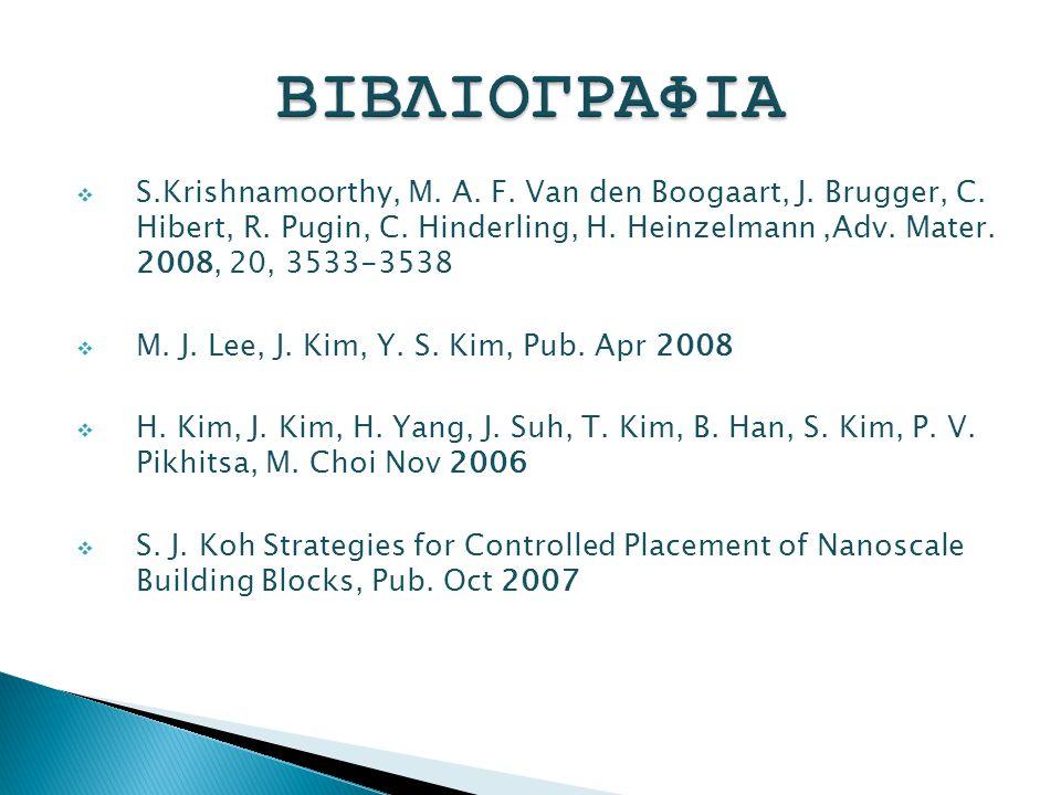  S.Krishnamoorthy, M. A. F. Van den Boogaart, J. Brugger, C. Hibert, R. Pugin, C. Hinderling, H. Heinzelmann,Adv. Mater. 2008, 20, 3533-3538  M. J.