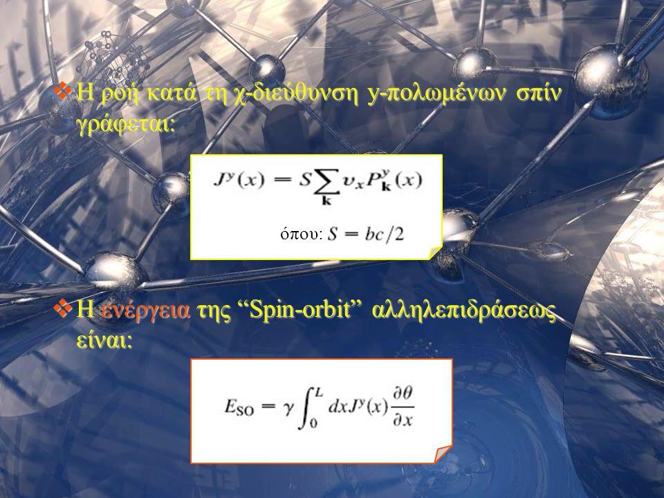 """Σεμινάριο Φυσικής 200615 όπου:  Η ροή κατά τη χ-διεύθυνση y-πολωμένων σπίν γράφεται:  Η ενέργεια της """"Spin-orbit"""" αλληλεπιδράσεως είναι:"""