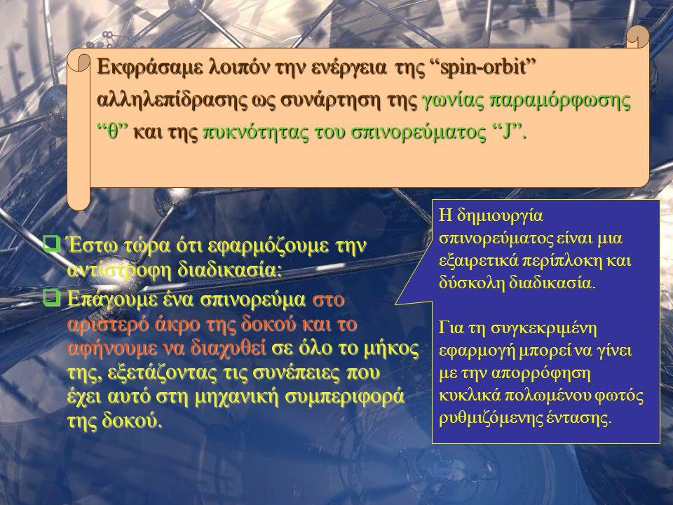 Σεμινάριο Φυσικής 200616  Έστω τώρα ότι εφαρμόζουμε την αντίστροφη διαδικασία:  Επάγουμε ένα σπινορεύμα στο αριστερό άκρο της δοκού και το αφήνουμε