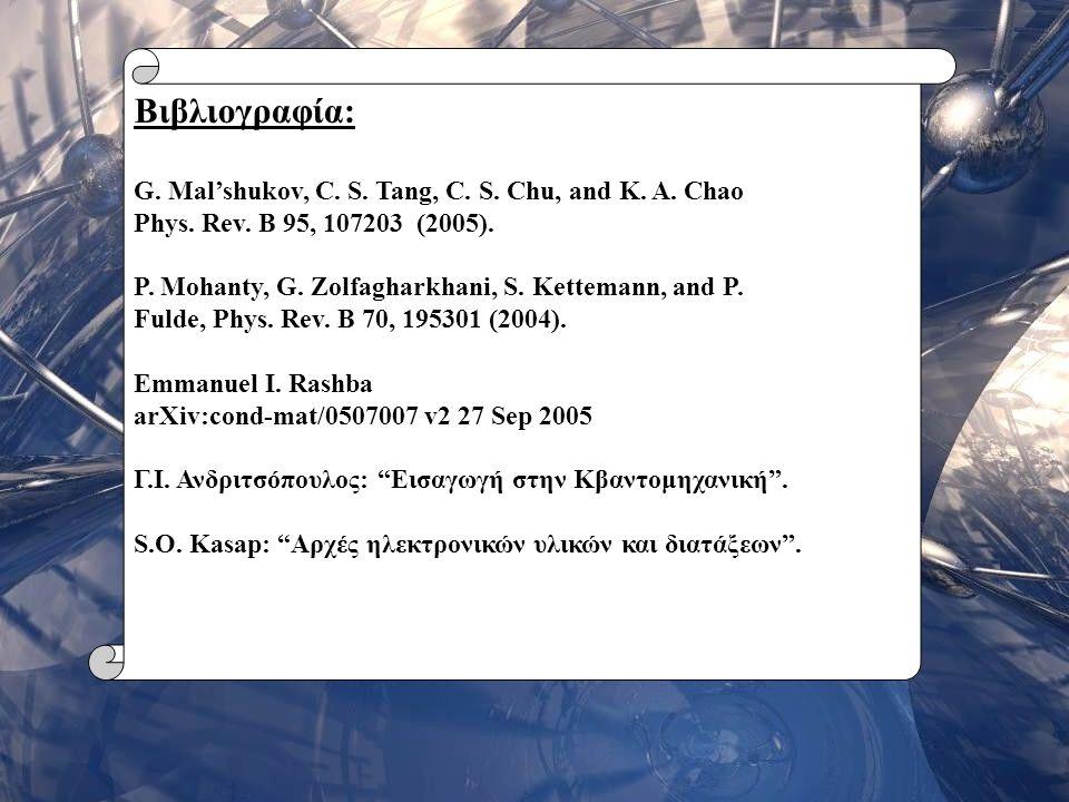 Σεμινάριο Φυσικής 200625 Βιβλιογραφία: G. Mal'shukov, C. S. Tang, C. S. Chu, and K. A. Chao Phys. Rev. B 95, 107203 (2005). P. Mohanty, G. Zolfagharkh
