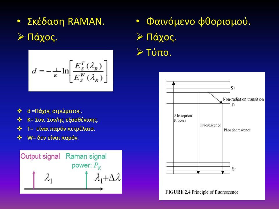 Σκέδαση RAMAN.  Πάχος.  d =Πάχος στρώματος.  K= Συν. Συν/ης εξασθένισης.  T= είναι παρόν πετρέλαιο.  W= δεν είναι παρόν. Φαινόμενο φθορισμού.  Π