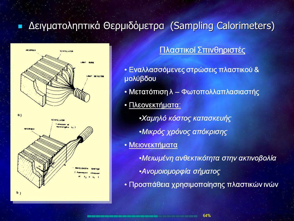 Δειγματοληπτικά Θερμιδόμετρα (Sampling Calorimeters) Δειγματοληπτικά Θερμιδόμετρα (Sampling Calorimeters) Πλαστικοί Σπινθηριστές Εναλλασσόμενες στρώσε