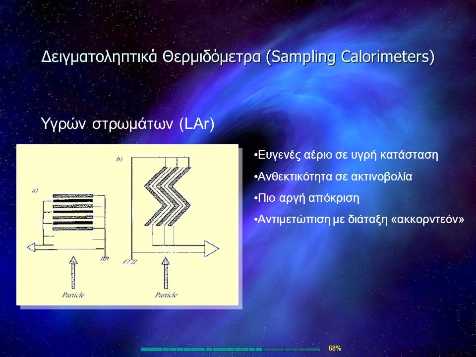 Δειγματοληπτικά Θερμιδόμετρα (Sampling Calorimeters) Υγρών στρωμάτων (LAr) Ευγενές αέριο σε υγρή κατάσταση Ανθεκτικότητα σε ακτινοβολία Πιο αργή απόκρ