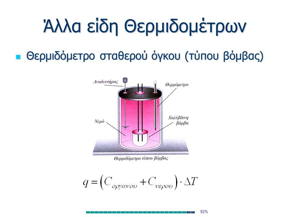 Άλλα είδη Θερμιδομέτρων Θερμιδόμετρο σταθερού όγκου (τύπου βόμβας) Θερμιδόμετρο σταθερού όγκου (τύπου βόμβας) 92%