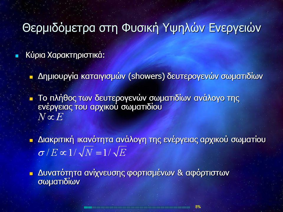 Θερμιδόμετρα στη Φυσική Υψηλών Ενεργειών Κύρια Χαρακτηριστικά: Κύρια Χαρακτηριστικά: Δημιουργία καταιγισμών (showers) δευτερογενών σωματιδίων Δημιουργ