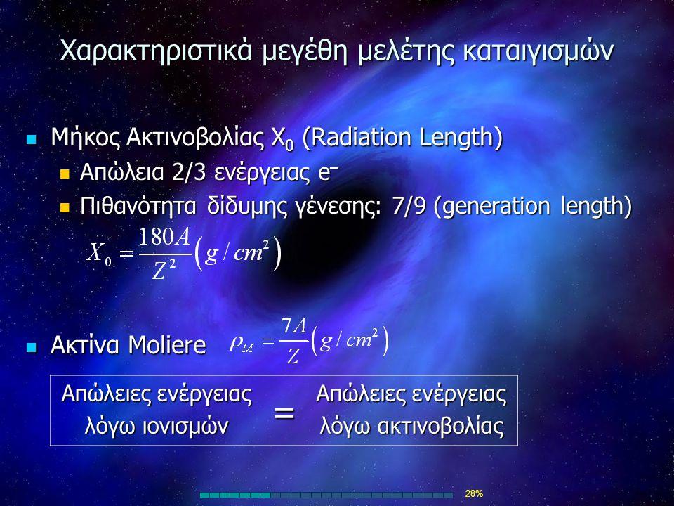 Χαρακτηριστικά μεγέθη μελέτης καταιγισμών Μήκος Ακτινοβολίας Χ 0 (Radiation Length) Μήκος Ακτινοβολίας Χ 0 (Radiation Length) Απώλεια 2/3 ενέργειας e