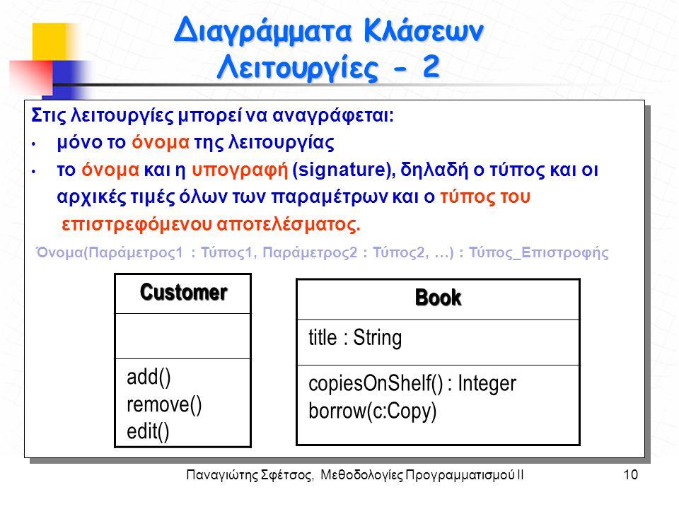 Παναγιώτης Σφέτσος, Μεθοδολογίες Προγραμματισμού ΙΙ10 Στόχοι Διαγράμματα Κλάσεων Λειτουργίες - 2 Στις λειτουργίες μπορεί να αναγράφεται: μόνο το όνομα