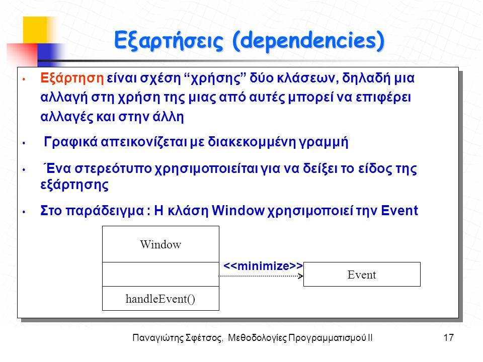 """Παναγιώτης Σφέτσος, Μεθοδολογίες Προγραμματισμού ΙΙ17 Στόχοι Εξαρτήσεις (dependencies) Εξάρτηση είναι σχέση """"χρήσης"""" δύο κλάσεων, δηλαδή μια αλλαγή στ"""