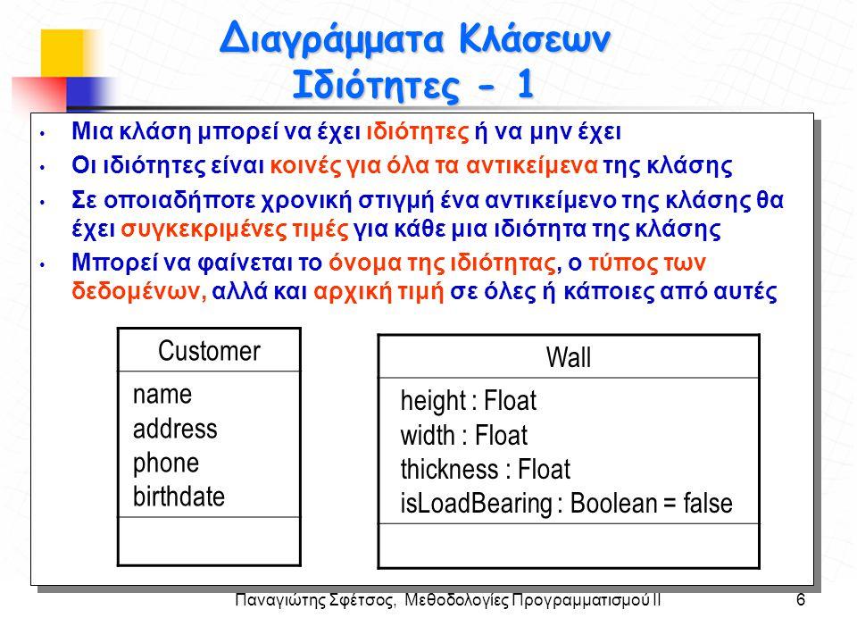 Παναγιώτης Σφέτσος, Μεθοδολογίες Προγραμματισμού ΙΙ7 Στόχοι Διαγράμματα Κλάσεων Ιδιότητες - 2 Τυπική σύνταξη ιδιοτήτων Όνομα : Τύπος = αρχική_τιμή Παραγόμενες (derived) ιδιότητες: η τιμή τους προκύπτει από άλλες ιδιότητες της κλάσης.
