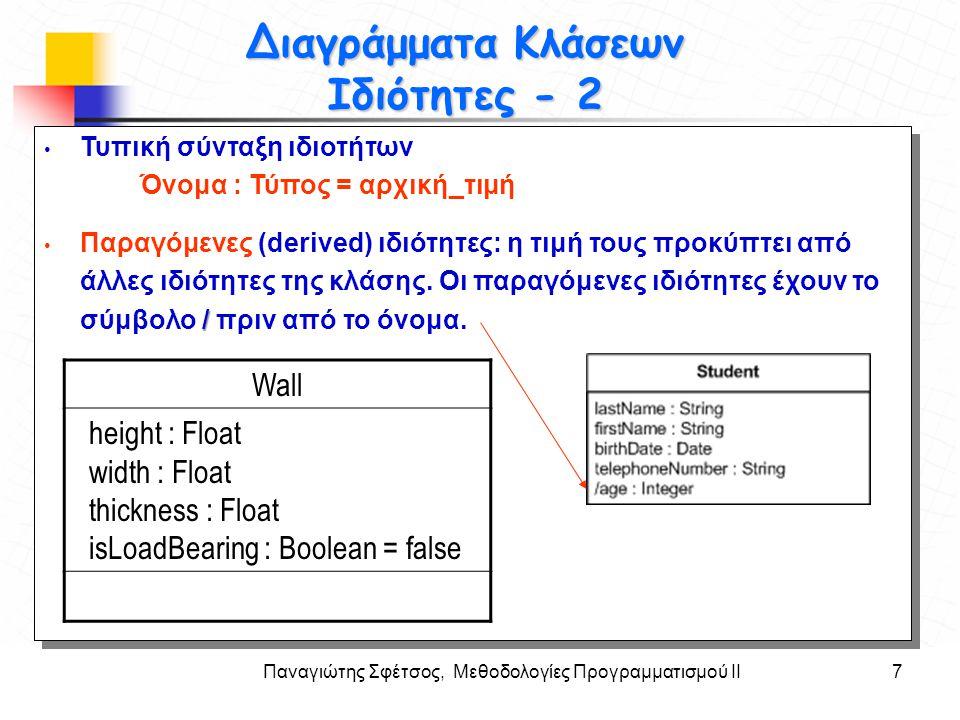 Παναγιώτης Σφέτσος, Μεθοδολογίες Προγραμματισμού ΙΙ7 Στόχοι Διαγράμματα Κλάσεων Ιδιότητες - 2 Τυπική σύνταξη ιδιοτήτων Όνομα : Τύπος = αρχική_τιμή Παρ